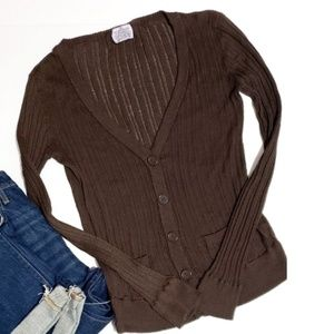 Sweaters - brown button down cardigan size large knit